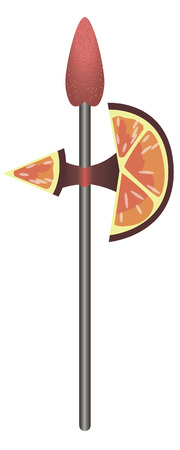 This is halberd made of strawberries and orange slices. Illustration