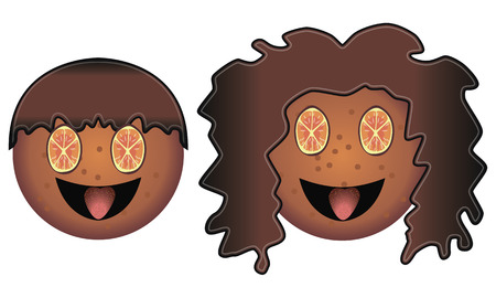 bułka maślana: This boy and girl of biscuits. They smile. Their eyes are made of orange. Their hair is made of chocolate. Their tongues are made of strawberry.