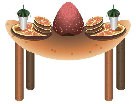 bułka maślana: Jest to stół z serwisu było niezwykłe. Na stole są napoje, kiwi, pomarańcze talerze. Stół jest ustawiony dla dwóch osób. W środku tabeli jest starberry.