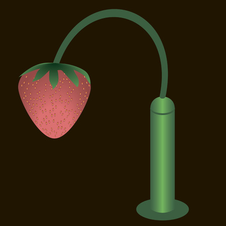 repast: Strawberries hanging from a lamppost instead of bulbs. Illustration