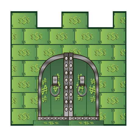 financial savings: Castle Gate of dollars. Suitable for articles about financial savings. Illustration