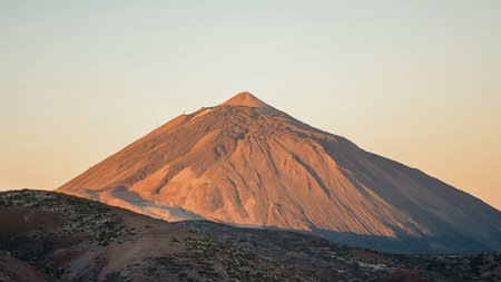 Teide volcano Tenerife Canary Islands on a clear day at dawn