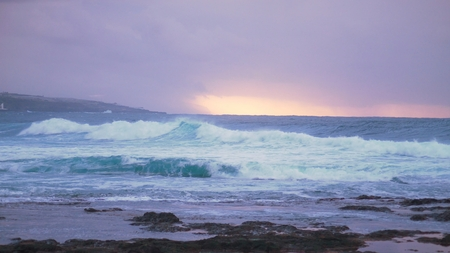 ocean before the storm at sunset