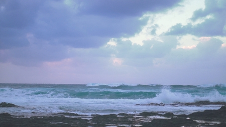 panorama of the Atlantic coast waves and the wind before the storm 写真素材