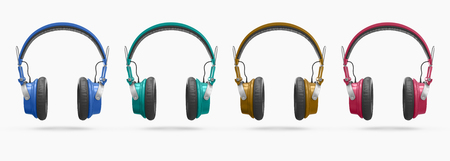 music background: Collage of wireless headphones different colors isolated on white background with shadow. 3d Rendering