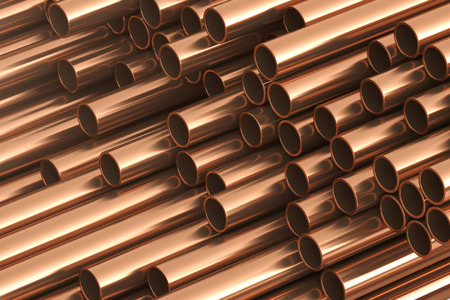 Copper metal pipes on warehouse. 3d Rendering