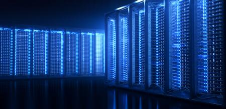 Server room in datacenter or server room data center. Hosting services. 3d rendering