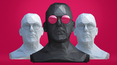 Low Poly style Male heads in different colors glasses on red background. 3d concept Illustration with place for your design.  Stock Photo