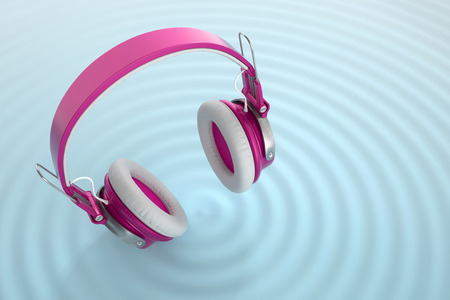Funny bright wireless headphones isolated on blue surface with audio waves. 3d Conceptual illustration Stock Photo