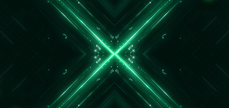Green hi-tech user interface. Digital global speed technology concept, abstract background. 3d rendering Stock Photo