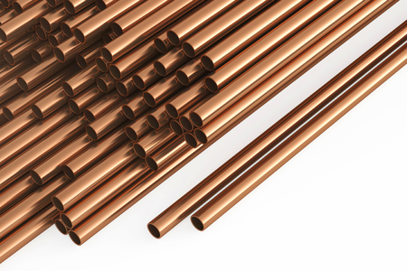 Copper pipes on a white background. 3d rendering