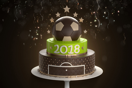 Delicious cake with the decoration of the golden ball from above and confetti on background. Sports concept symbolizing the football championship 2018. 3d illustration