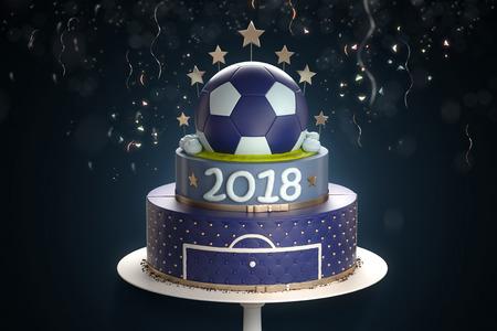 #80900116   Leckere Kuchen Mit Der Dekoration Der Goldenen Kugel Von Oben  Und Konfetti Auf Hintergrund. Sport Konzept Symbolisiert Die  Fußball Meisterschaft ...