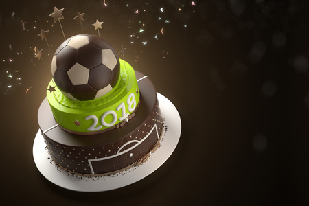 suprise: Delicious cake with the decoration of the golden ball from above and confetti on background. Sports concept symbolizing the football championship 2018. 3d illustration