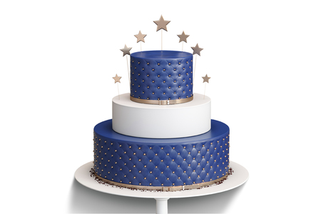Realistic blue three tiered wedding cake isolated with decoration of golden stars and balls on a white plate. 3d illustration