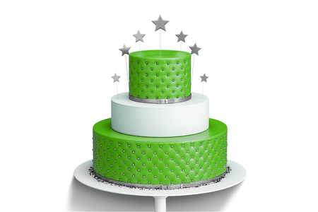 Realistic red three tiered wedding cake isolated with decoration of golden stars and balls on a white plate. 3d illustration