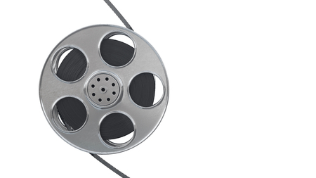 Film reel isolated on white background. Closeup with area for a text. 3d illustration Фото со стока