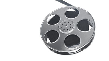 Film reel isolated on white background. Closeup with area for a text. 3d illustration
