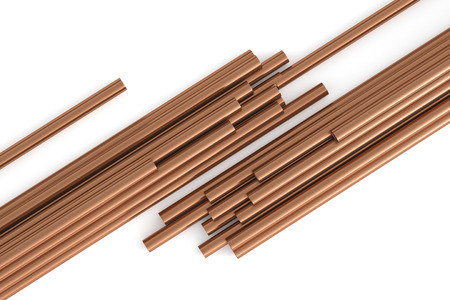 Copper pipes on a white background top view. 3d rendering