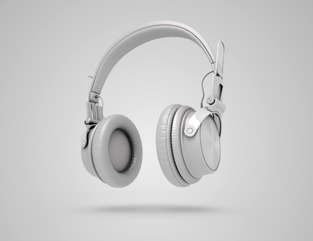 cool gadget: White wireless headphones on grey background with shadow. Musical background with audio white headphones. 3d Illustration