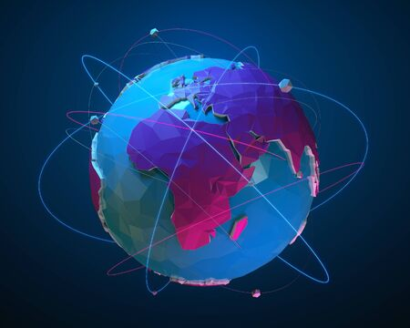 Low poly planet Earth with luminous lines and balls. Concept illustration of flight routes and travels. 3d rendering Stock fotó