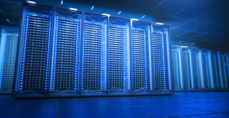 Server room in data center or server room data center. Hosting services. 3d rendering Stock Photo