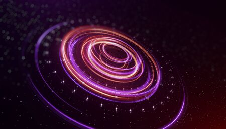 Space concept for digital galaxy. Neon blurry circles at fast motion. Ribbon flare. Abstract rotational border lines, speed rings effect. Magic design round frame. Swirl trail effect. 3d render