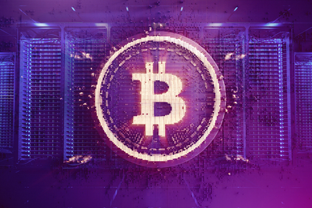 Crypto currency bitcoin. Net banking and bitcoins mining concept. Cryptography mining finance coin 3d illustration
