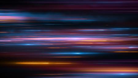Lichter und Streifen, die sich schnell über dunklen Hintergrund bewegen. Orange und bluel Hintergrund von sich schnell bewegenden Glühenpartikeln. 3d Illustartion Standard-Bild