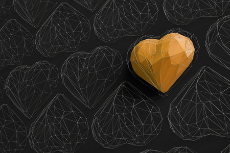 Unique yellow heart on black wall among the many empty wireframe hearts. Abstract polygonal heart with shadow. Love symbol. Low-poly colorful style. Romantic background for Valentine day. 3d rendering