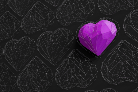 Unique purple heart on black wall among the many empty wireframe hearts. Abstract polygonal heart with shadow. Love symbol. Low-poly colorful style. Romantic background for Valentine day. 3d rendering  Stock fotó