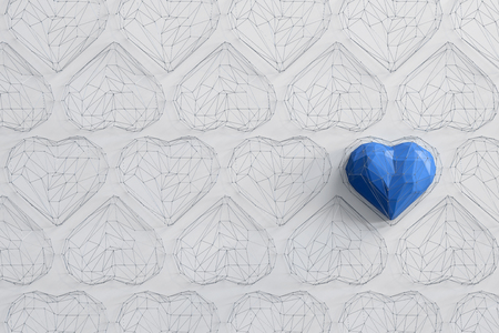 Unique blue heart on white background among the many empty wireframe hearts. Abstract polygonal heart with shadow. Love symbol. Low-poly colorful style. Romantic background for Valentine day. 3d rendering  Stock fotó