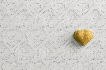 Unique yellow heart on white background among the many empty wireframe hearts. Abstract polygonal heart with shadow. Love symbol. Low-poly colorful style. Romantic background for Valentine day. 3d rendering  Stock fotó