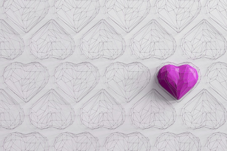Unique fuchsia heart on white background among the many empty wireframe hearts. Abstract polygonal heart with shadow. Love symbol. Low-poly colorful style. Romantic background for Valentine day. 3d rendering