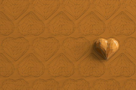 Unique yellow heart on orange background among the many empty wireframe hearts. Abstract polygonal heart with shadow. Love symbol. Low-poly colorful style. Romantic background for Valentine day. 3d rendering