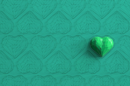 Unique green heart on turquoise background among the many empty wireframe hearts. Abstract polygonal heart with shadow. Love symbol. Low-poly colorful style. Romantic background for Valentine day. 3d rendering  Stock fotó