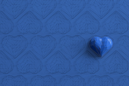 Unique blue heart on blue background among the many empty wireframe hearts. Abstract polygonal heart with shadow. Love symbol. Low-poly colorful style. Romantic background for Valentine day. 3d rendering