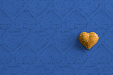Unique yellow heart on blue background among the many empty wireframe hearts. Abstract polygonal heart with shadow. Love symbol. Low-poly colorful style. Romantic background for Valentine day. 3d rendering  Stock fotó