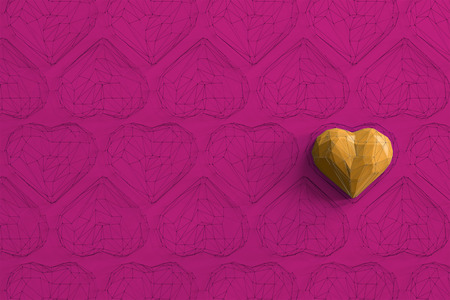 Unique yellow heart on pink background among the many empty wireframe hearts. Abstract polygonal heart with shadow. Love symbol. Low-poly colorful style. Romantic background for Valentine day. 3d rendering