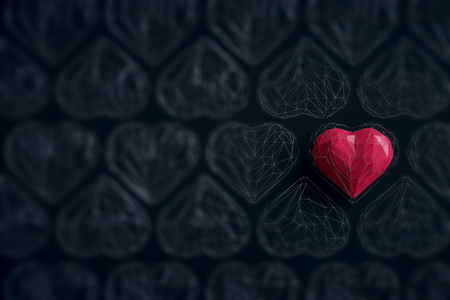 Unique red heart on black background among the many empty wireframe hearts. Abstract polygonal heart with shadow. Love symbol. Low-poly colorful style. Romantic background for Valentine day. 3d rendering  Stock fotó