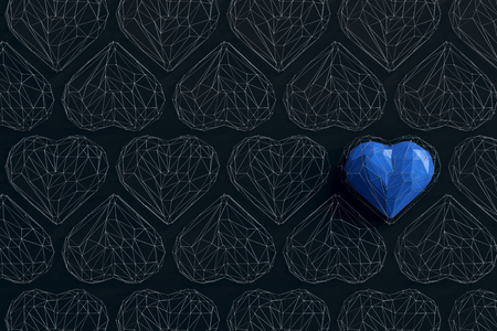 Unique blue heart on black background among the many empty wireframe hearts. Abstract polygonal heart with shadow. Love symbol. Low-poly colorful style. Romantic background for Valentine day. 3d rendering  Stock fotó
