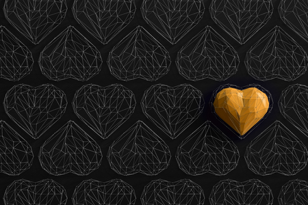 Unique yellow heart on black background among the many empty wireframe hearts. Abstract polygonal heart with shadow. Love symbol. Low-poly colorful style. Romantic background for Valentine day. 3d rendering  Stock fotó