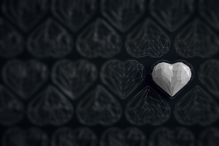 Unique white heart on black background among the many empty wireframe hearts. Abstract polygonal heart with shadow. Love symbol. Low-poly colorful style. Romantic background for Valentine day. 3d rendering