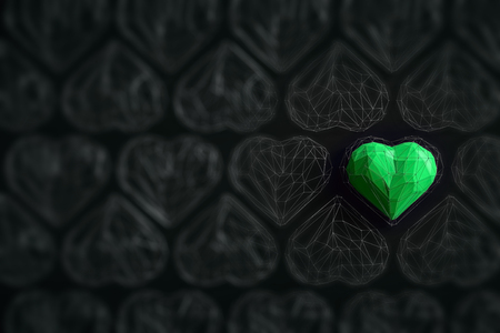 Unique green heart on black background among the many empty wireframe hearts. Abstract polygonal heart with shadow. Love symbol. Low-poly colorful style. Romantic background for Valentine day. 3d rendering