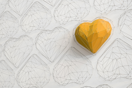 Unique Yellow heart on white background among the many empty wireframe hearts. Abstract polygonal heart with shadow. Love symbol. Low-poly colorful style. Romantic background for Valentine day. 3d rendering