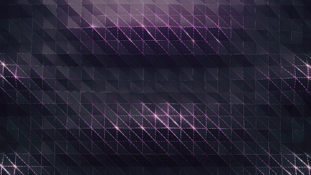 Abstract digital surface with polygonal structure. 3d geometric waves with mesh, shiny particles and grid. 3d illustration Stock Photo