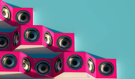 Stylish Music speakers isometric. 3d design with long shadow. 3d Illustration