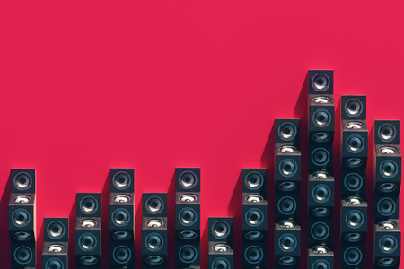 Stylish equalizer from the music speakers in the isometric view. 3d design with long shadow. 3d illustration