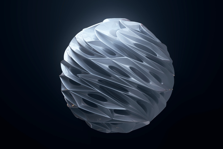 Abstract 3d rendering of high poly silver sphere with chaotic structure on black background. Sci-fi background with wireframe and globe in empty space. 3d rendering