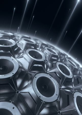 black sphere of audio speakers and several opticle flare. 3d rendering Stock fotó